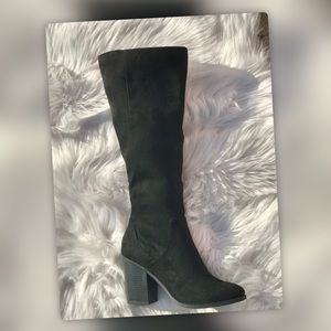 NEW Soda Black Faux Suede Knee High Heel Boot